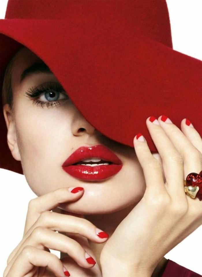 hübsche-Dame-mit-rotem-Lippenstift-und-rotem-Hut