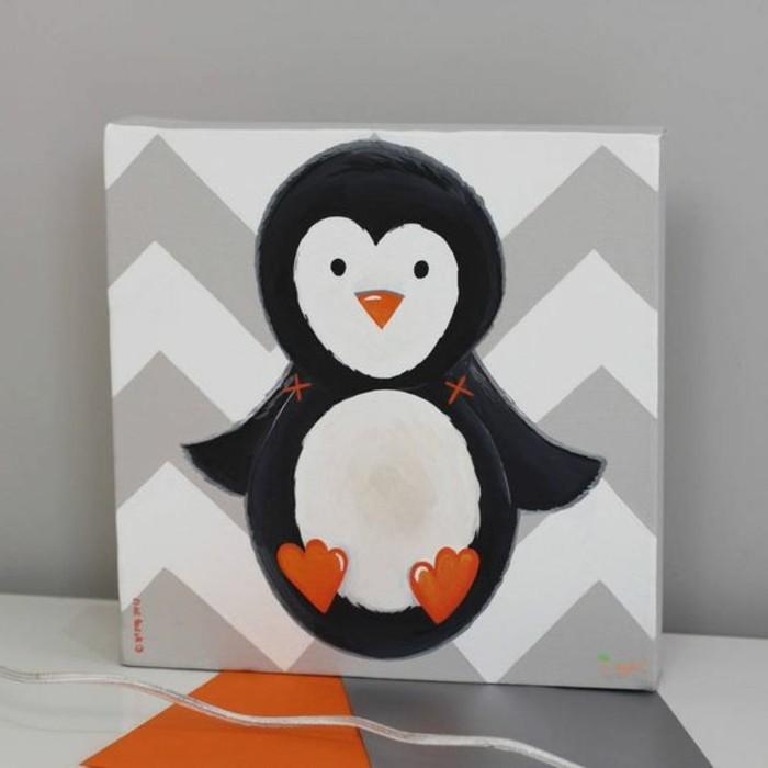 handgemaltes-Bild-auf-Leinwand-süße-Pinguin-Darstellung