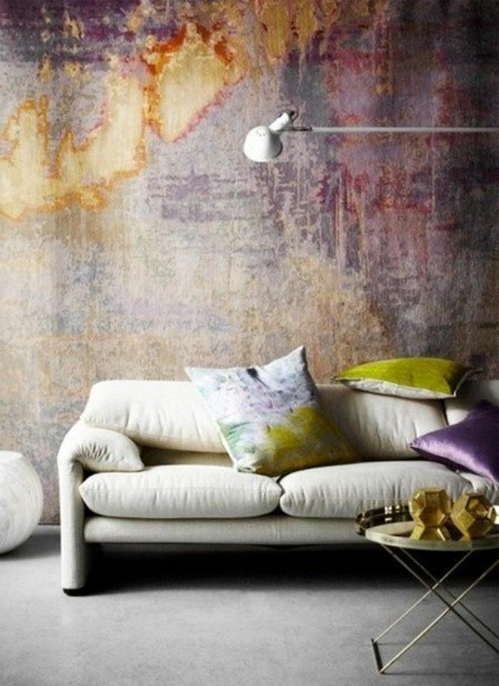 moderne wandgestaltung wohnzimmer lila ~ ideen für die ...