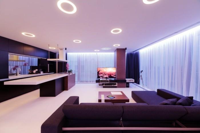 Wohnzimmer beleuchtung modern natursteinwand im wohnzimmer for Wohnzimmer beleuchtung modern