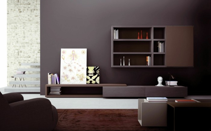 interessante-wohnzimmer-wandgestaltung-dunkles-zimmer-schöne-regale