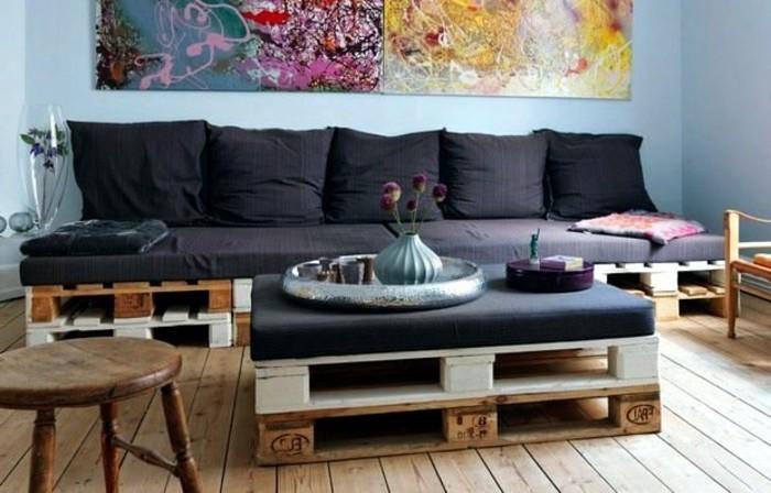 Interessantes Kreatives Modell Sofa Aus Europaletten Im Wohnzimmer