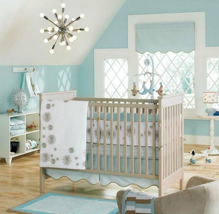 interessantes modell babyzimmer mit hellblauen wnden moderne babybetten - Moderne Babyzimmer