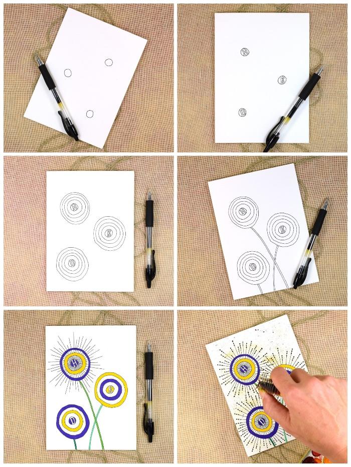 karten gestalten, kreise zeichnen, schwarzer nagellack, geometrische elemente