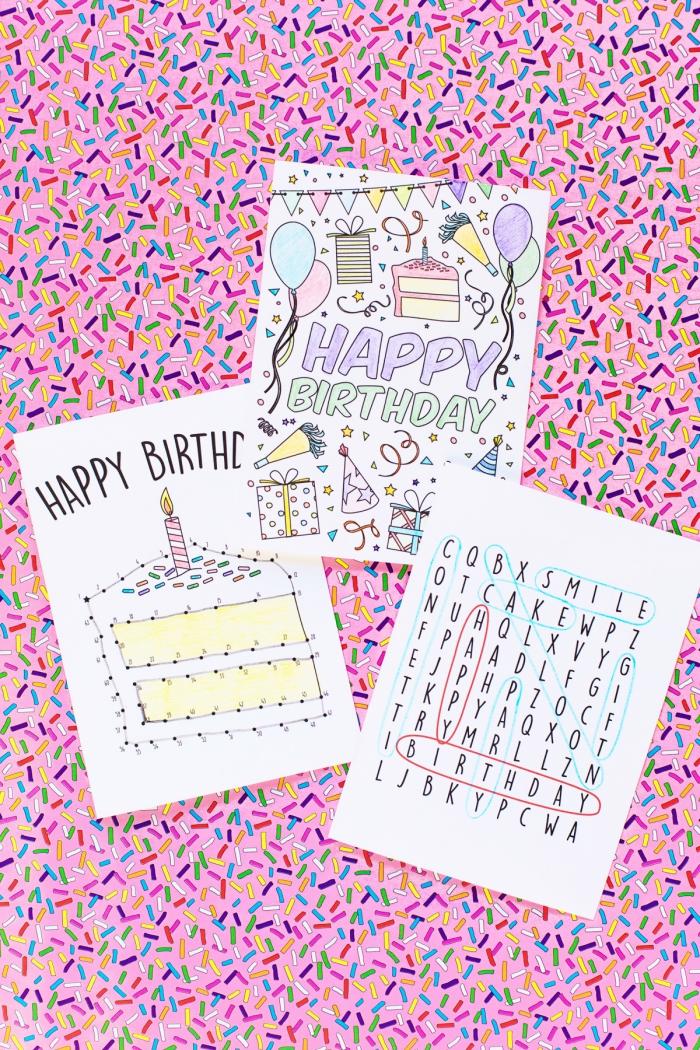 karten gestalten, stück torte, geburtstagskarten zum ausdrucken, rosa kerze