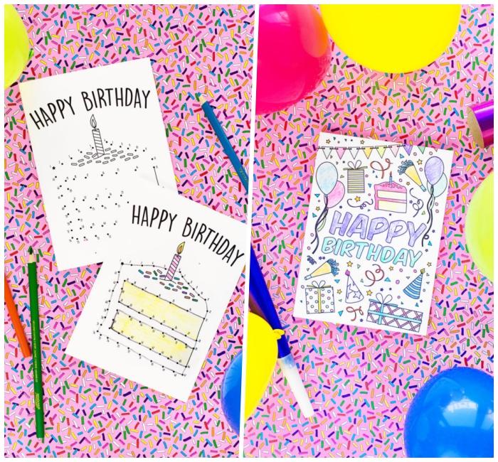karten gestalten, bunte luftballons, spiel mit wörtern, stück torte, geburtstag