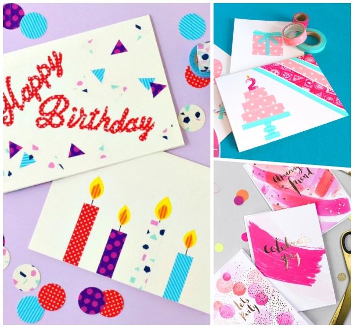 kerzen aus washi tape, karten selbst gestalten, papier mit buntem klebeband dekorieren