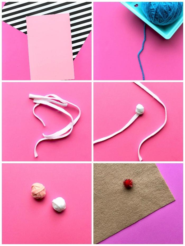 rosa papier, kleine bällchen, karten selbst gestalten, geburtstagskarte mit 3d eiscreme