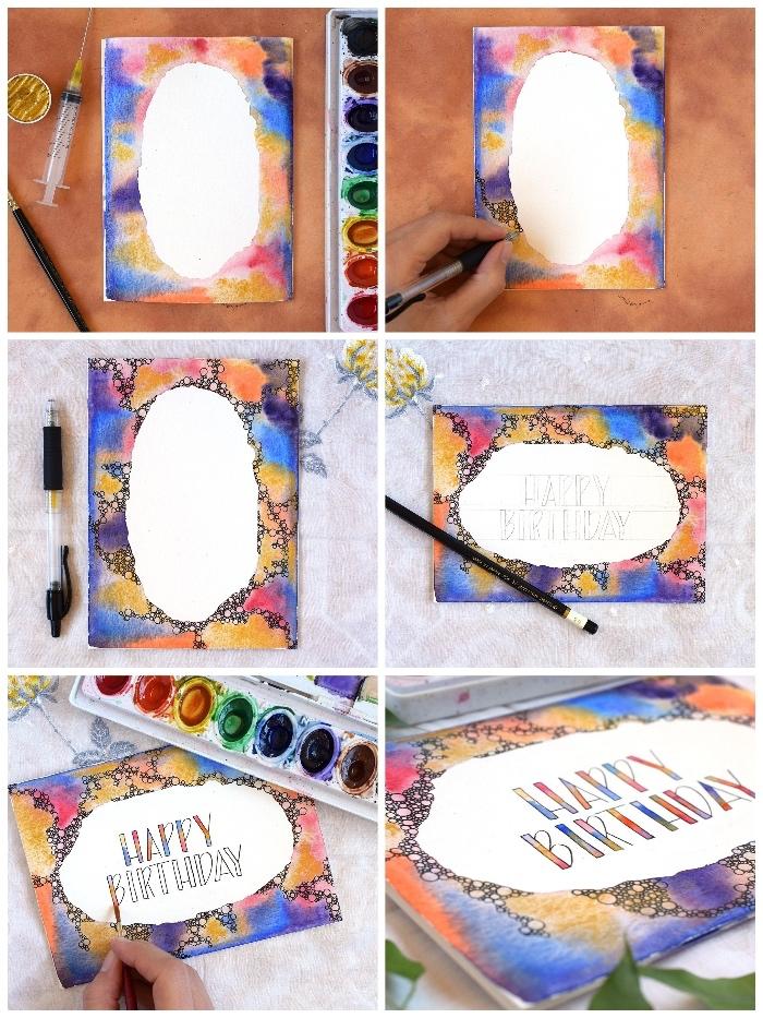 karten selbst gestalten, diy anleitung, geburtstagskarte mit wasserfarben dekorieren, buchstaben färben