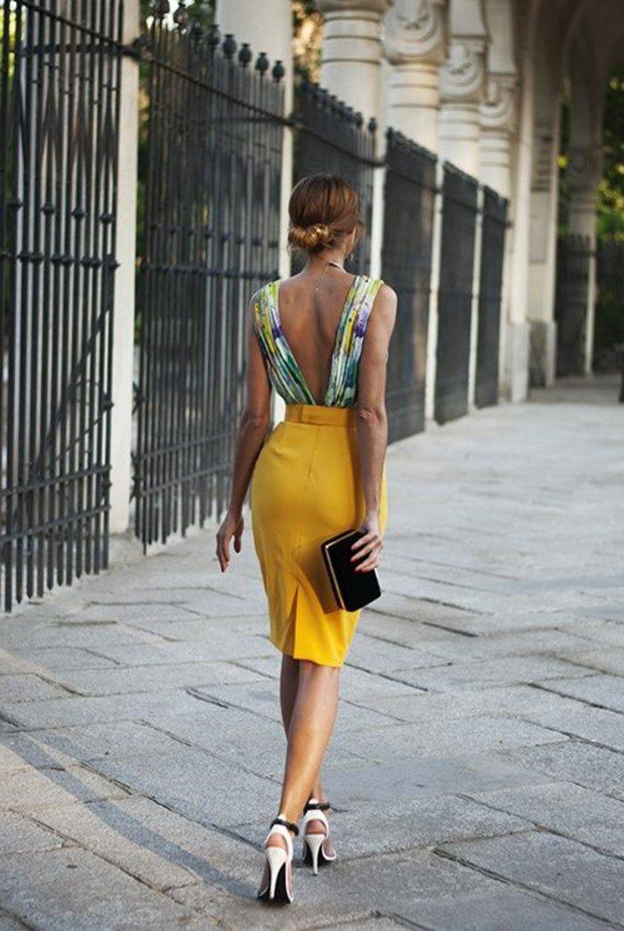 kleider-kurz-elegant-gelb-bunt-oberteil