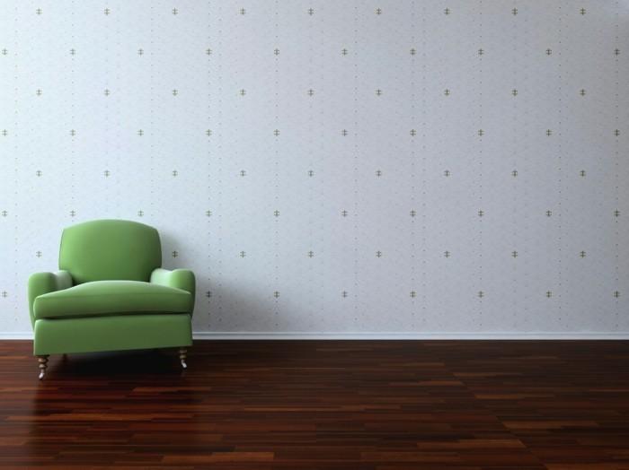 kreative-wand-deko-ideen-fürs-wohnzimmer-grüner-sessel