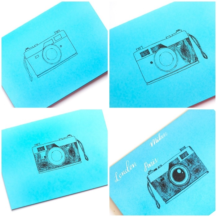 fotoapparat zeichnen, lustige geburtstagskarten, blaues papier, anleitung