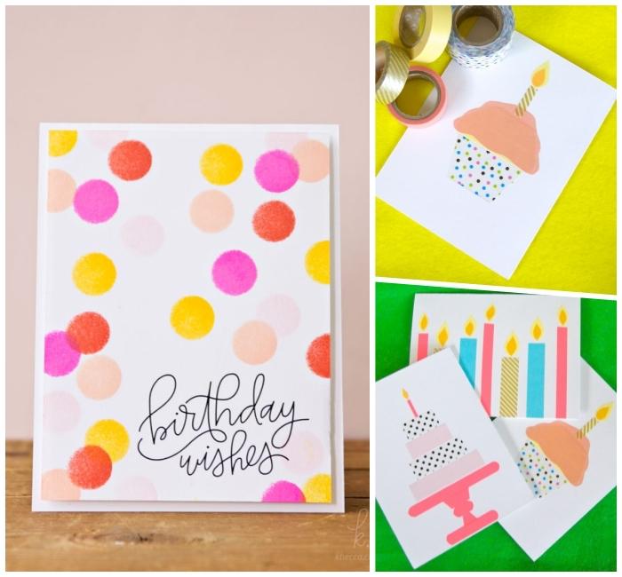 muffin aus washi tapes, einfache anleitungen, luftige geburtstagskarten, gepunktetes papier