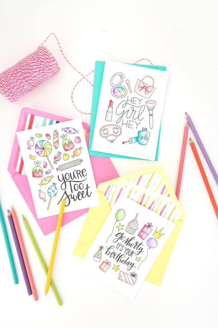 bunte farbstifte, karten färben, luftige geburtstagskarten, diy ideen zum geburtstag