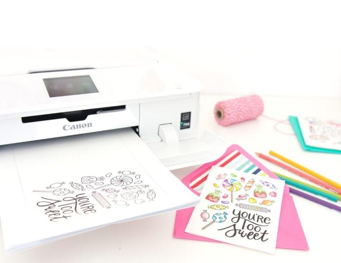 luftige geburtstagskarten, vorlage zum ausdrucken, kleine figuren, bonbons und lutscher