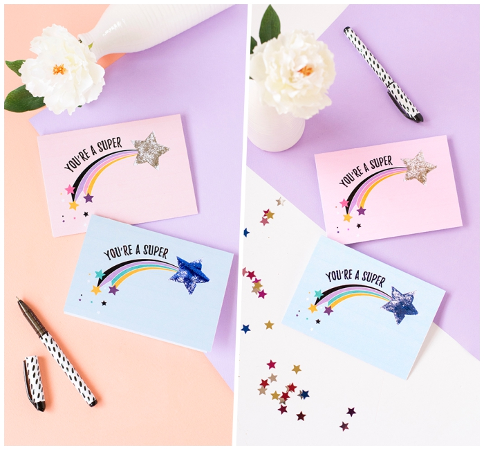 lustige geburtstagskarten, weiße blume, kleine sternen, du bist stern, regebnbogen