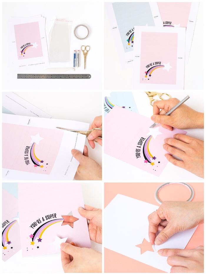 lustige geburtstagskarten zum selbermachen anleitung, vorlage zum ausdrucken, stern ausschneiden