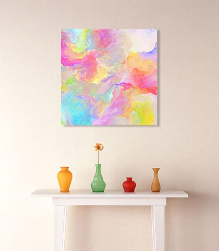 minimalistische-Einrichtung-abstraktes-Bild-an-der-Wand