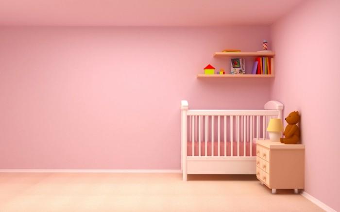 minimalistische-gestaltung-von-babyzimmer-rosige-wände-babybett-weiß