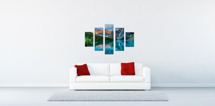 moderne-Einrichtung-in-Weiß-Naturbilder-an-der-Wand
