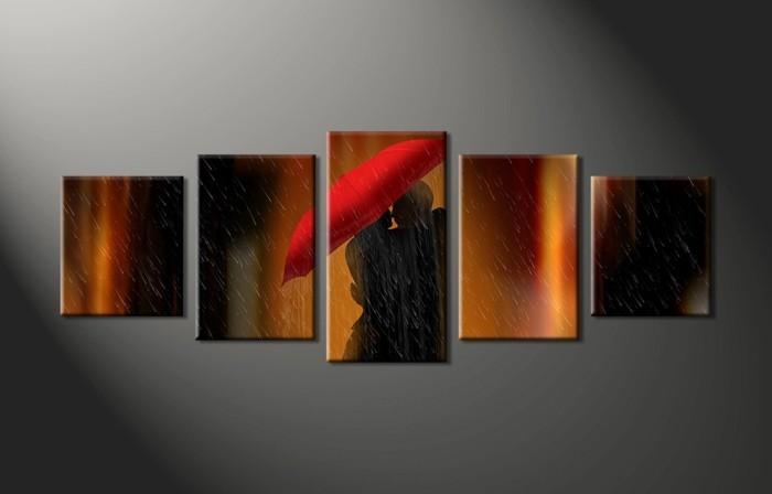 moderne-Kunst-Liebespaar-im-Regen-Darstellung
