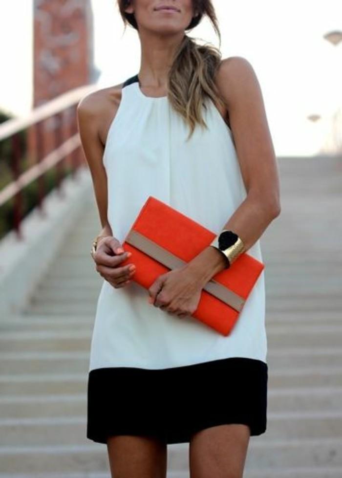 moderne-tolle-kleider-in-weiß-und-schwarz-elegante-dame