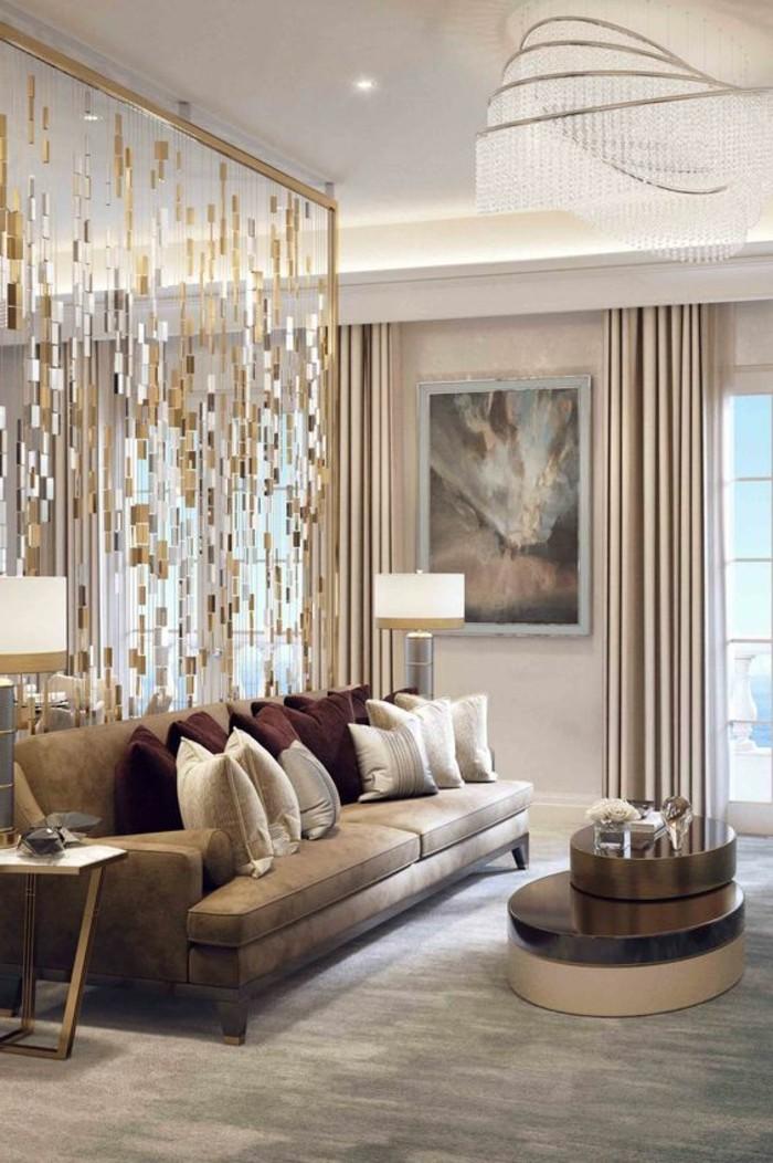 Elegantes wohnzimmer design mit herrlicher wandgestaltung