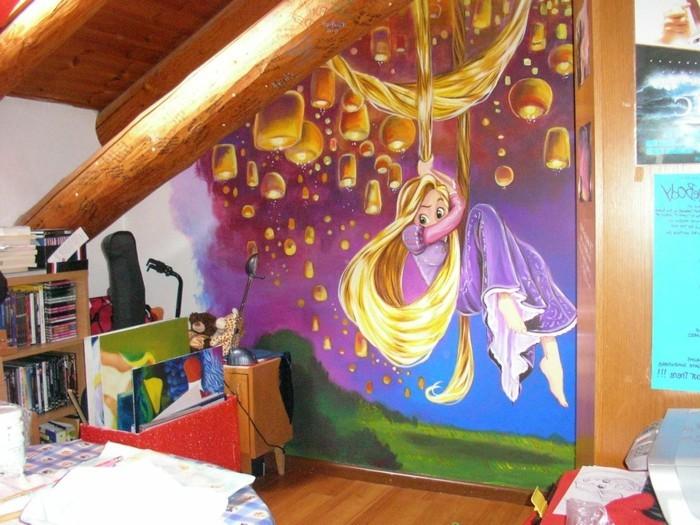 moderne-wandbilder-für-Kinderzimmer-mit-Rapunzel-und-Laternen