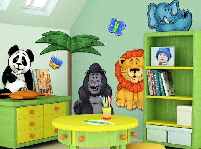moderne-wandbilder-für-kinderzimmer-mit-zootieren