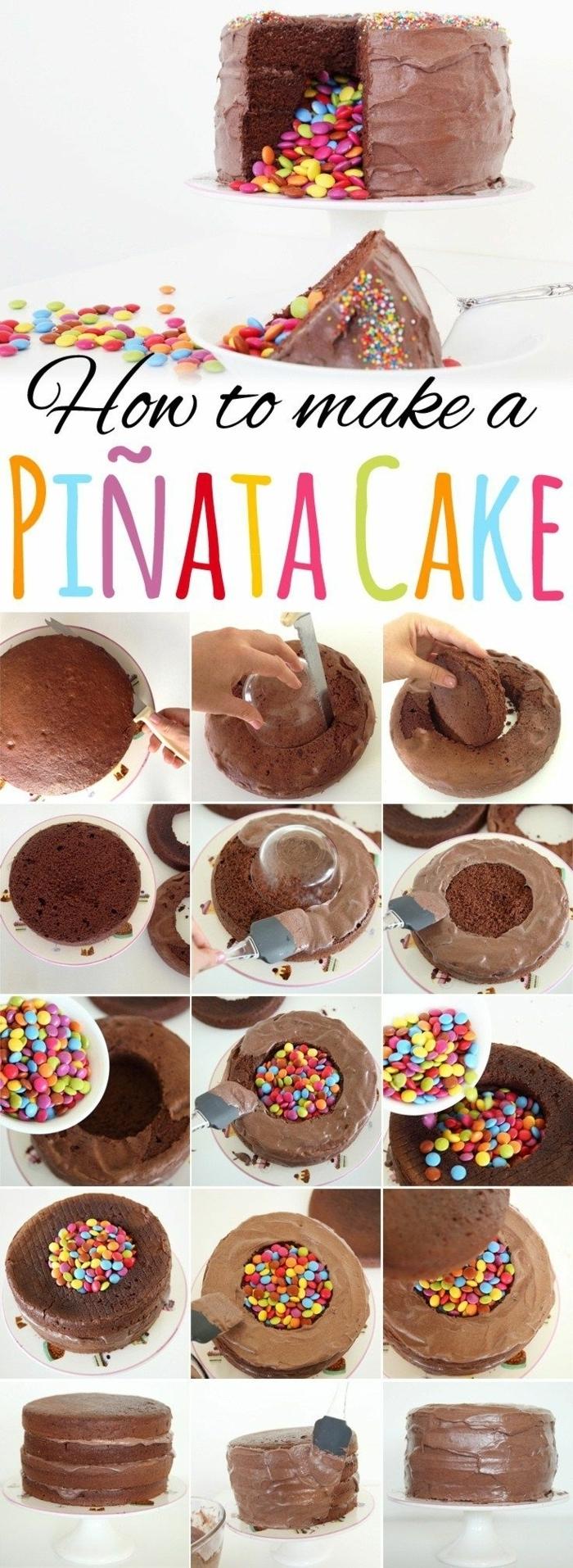 pinata geburtstagstorte anleitung diy schritt für schritt rezept smarties kuchen inspiration für kindergeburtstag schokoladentorte