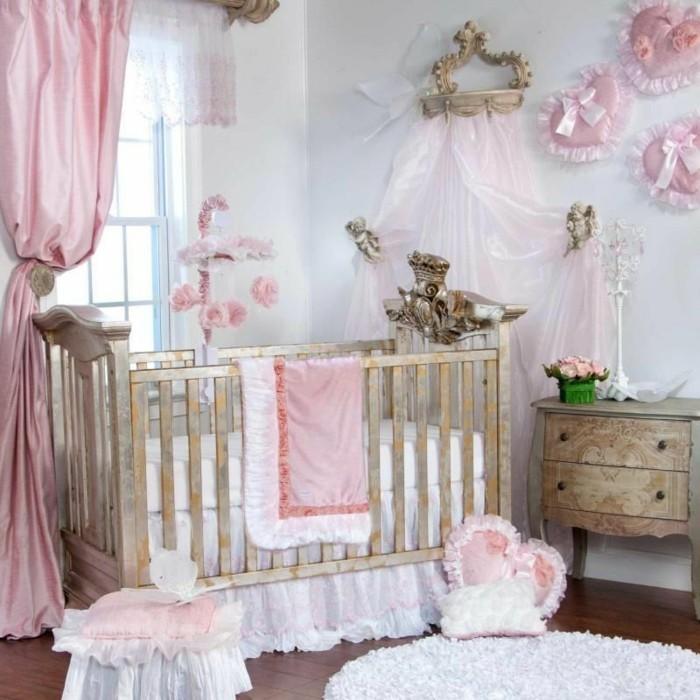 prinzessin-babyzimmer-gestalten-rosige-elemente-schönes-babybett