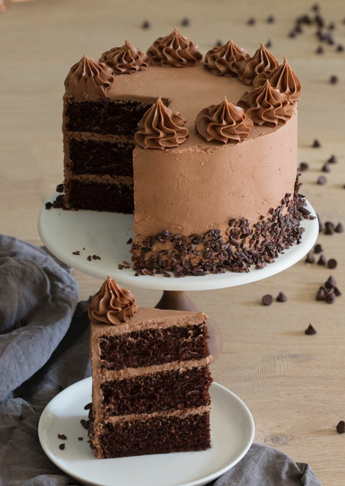 rezept dreifacher schokoladenkuchen geburtstagskuchen für anfänger mit schoko streuseln