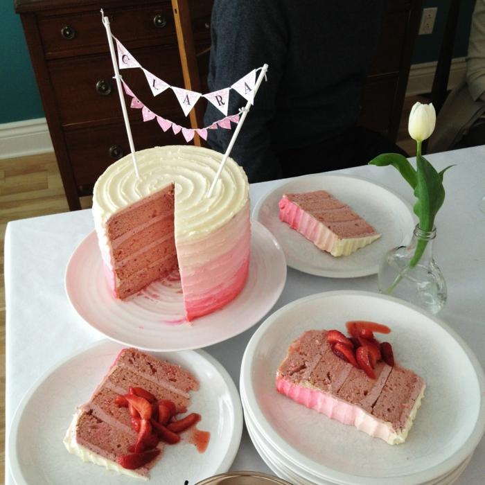 rosa himbeer torte geburtstagsparty mädchen geburtstagskuchen für anfänger pinker kuchen zum geburtstag