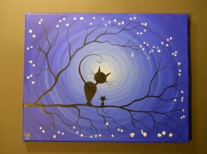 süßes-Leinwandbild-Katzen-im-Dunkeln