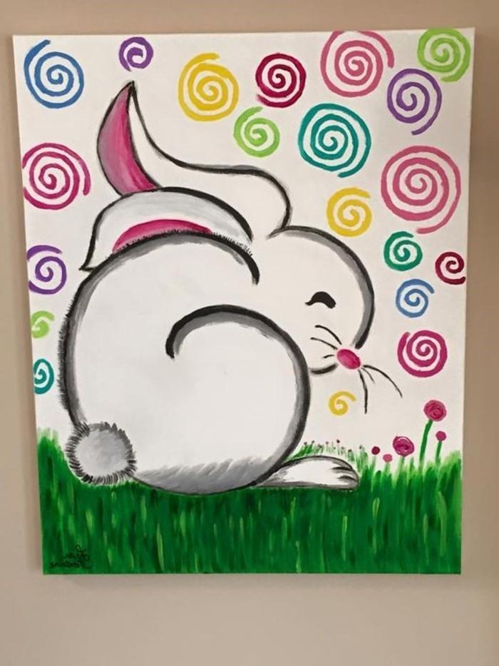 süßes-Leinwandbild-fürs-Kinderzimmer-Hase-Darstellung