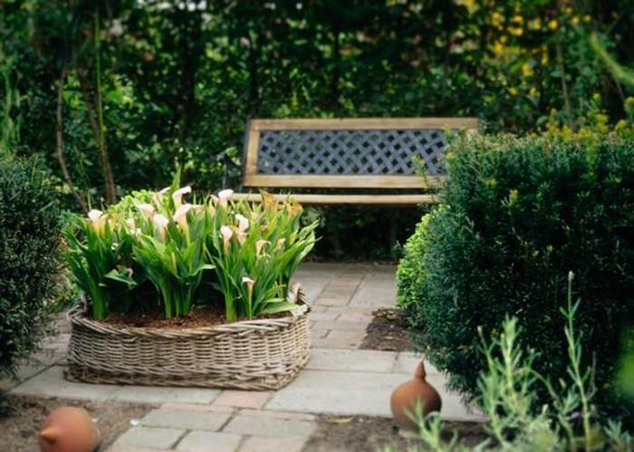 schöne-grüne-pflanzen-und-attraktive-sitzbank-im-garten