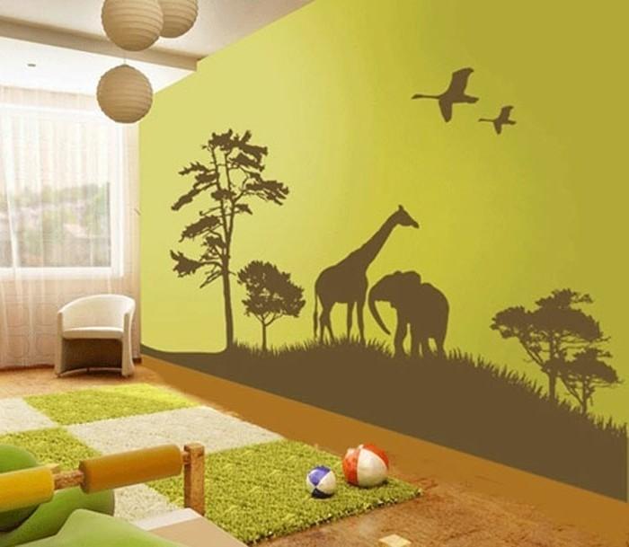 Kinderzimmer wandgestaltung giraffe  Schöne Wandbilder für Kinderzimmer - einige tolle Ideen - Archzine.net