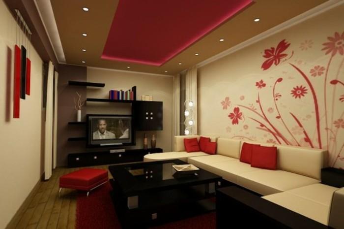schöne-wand-deko-ideen-fürs-wohnzimmer-rote-blumen-an-der-weißen-wand