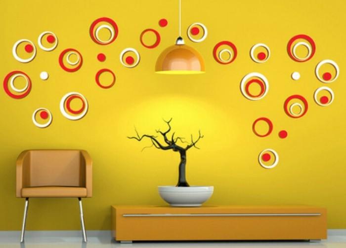 schöne-wandtattos-mit-roten-und-gelben-kreisen