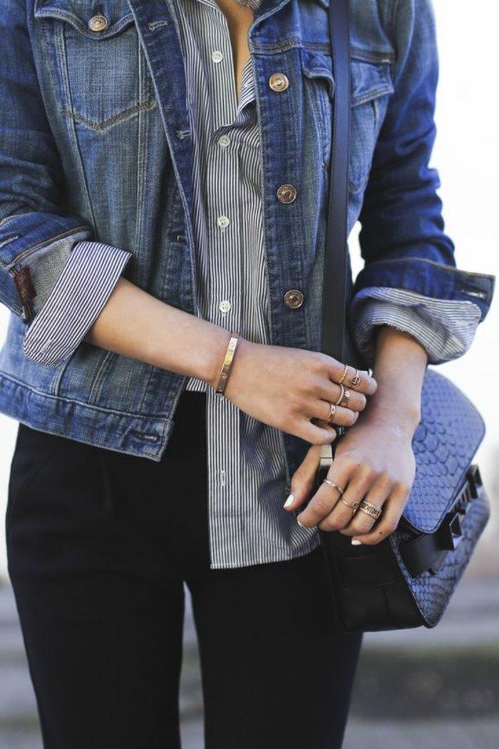 schlichtes-Modell-Denim-Jacke-mit-gestreiftem-Hemd-kombinieren