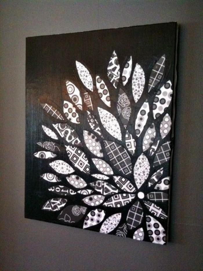 schwarzes-Leinwandbild-mit-attraktiver-Dekoration