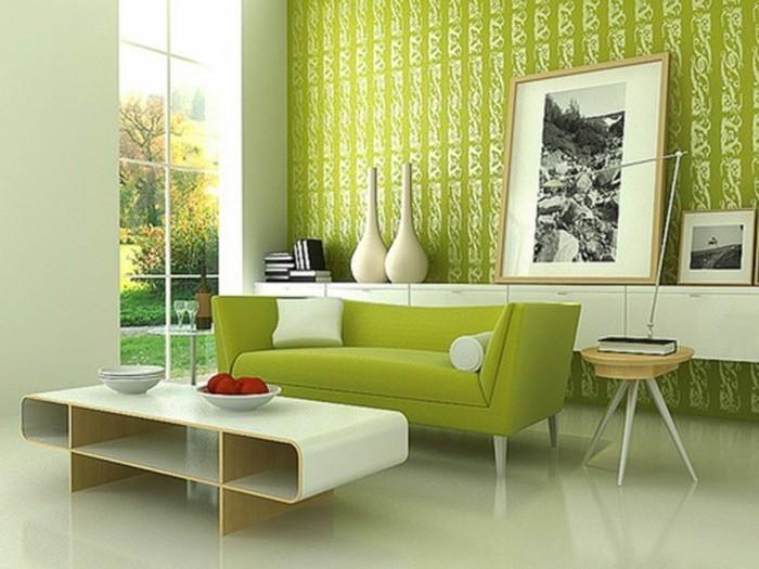 schöne wohnzimmer wände:sehr-schöne-wandgestaltung-wohnzimmer-grüne-wände-modernes-aussehen