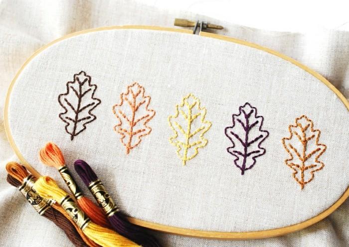 sticken-lernen-von-Eichenblättern-in-verschiedenen-Farben