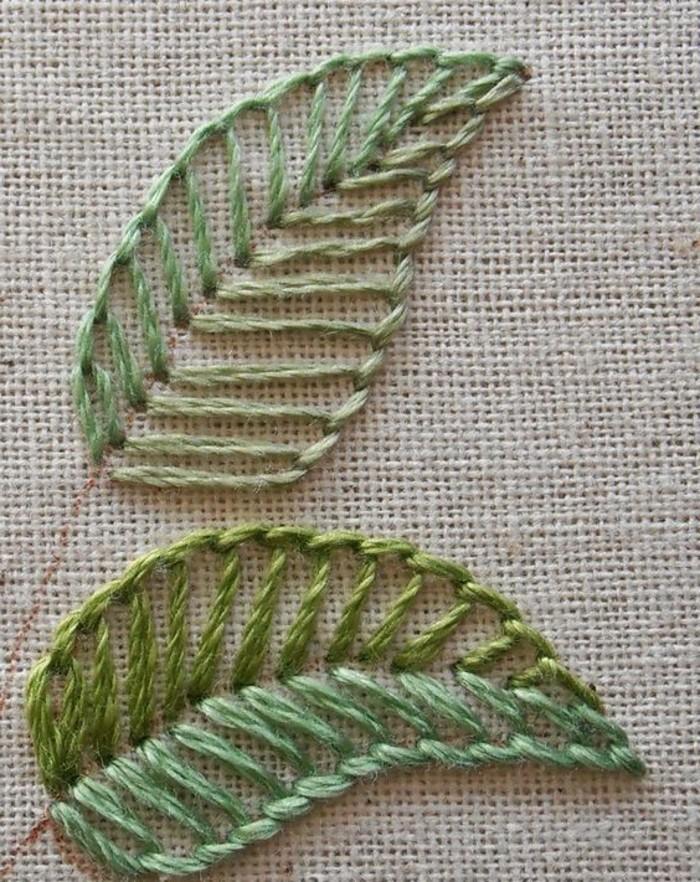sticken-lernen-zwei-grüne-blätter