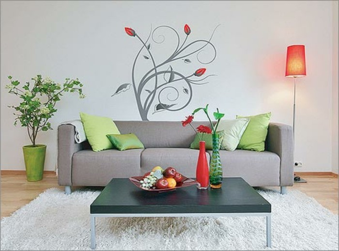 deko wohnzimmer wand:Sie können die Farbe des Wandtattoos dieser der Möbelstücke