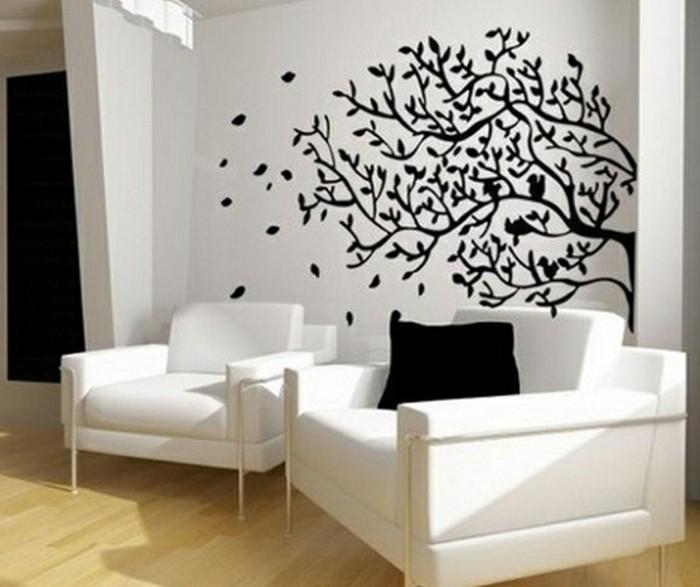 super-kreative-wohnzimmer-wandgestaltung-weiße-sessel-schönes-zimmer