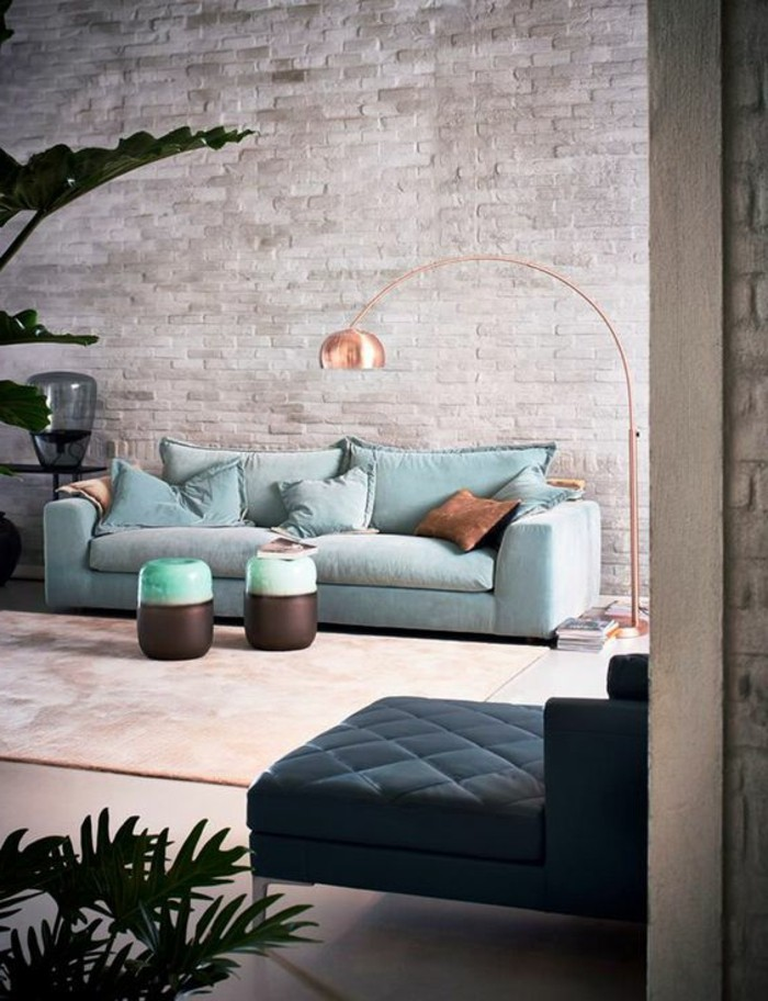 wohnzimmerwände ideen:super-schöne-wohnzimmer-wände-gestalten-interessantes-sofa-in-blau