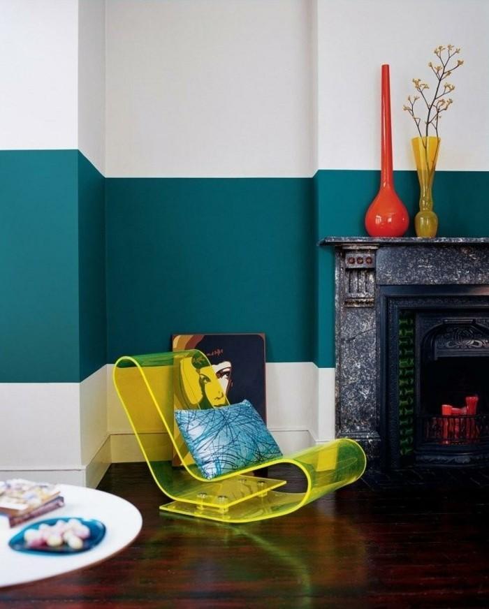 wohnzimmer ideen petrol:Die Wandfarbe Petrol hat verschiedene Nuancen: hier ist ein Beispiel