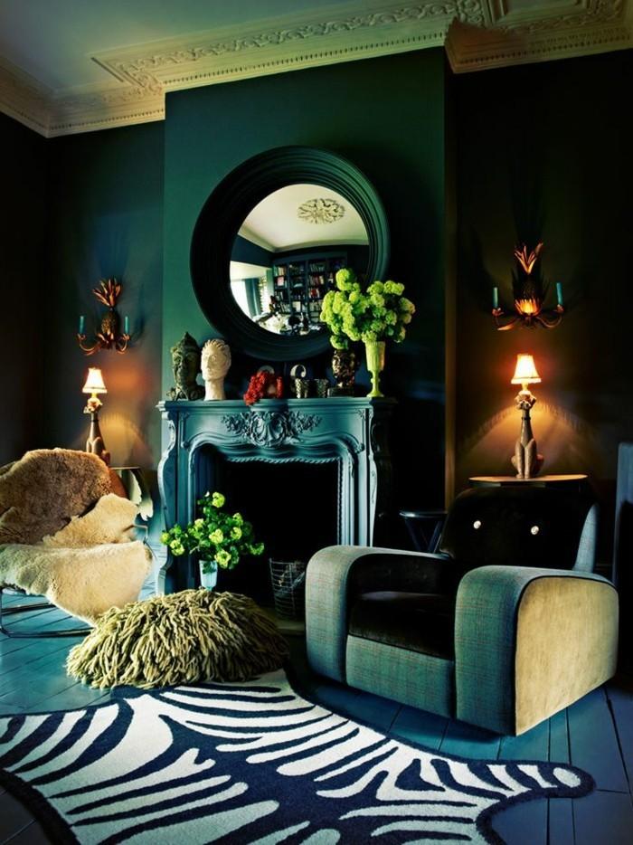 Dunkler Sessel Aristokratisches Modell Wohnzimmer Farbe Petrol