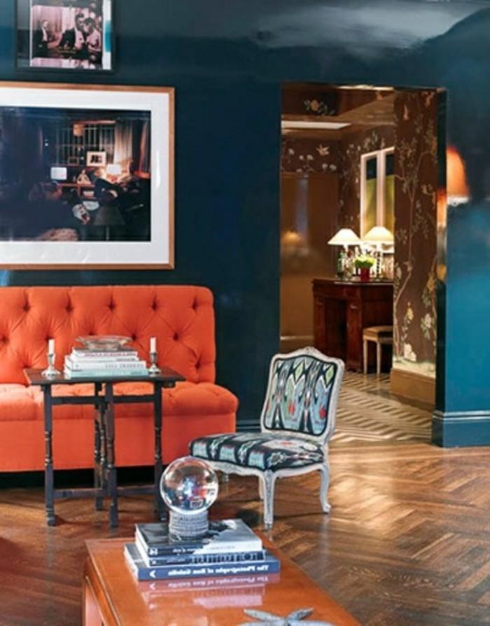 Wandfarbe Petrol Orange Sofa Und Kreatve Farbkombinationen